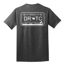 Gray t-shirt with DRTC's license plate design on the back.