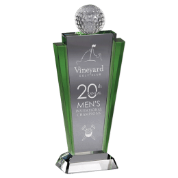 Engraved Meridian crystal award with a crystal golf ball on the top.