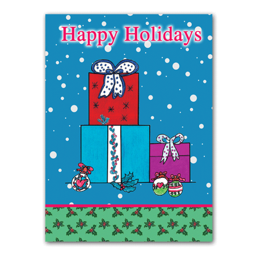"Three presents in a snowy scene. ""Happy Holidays."""