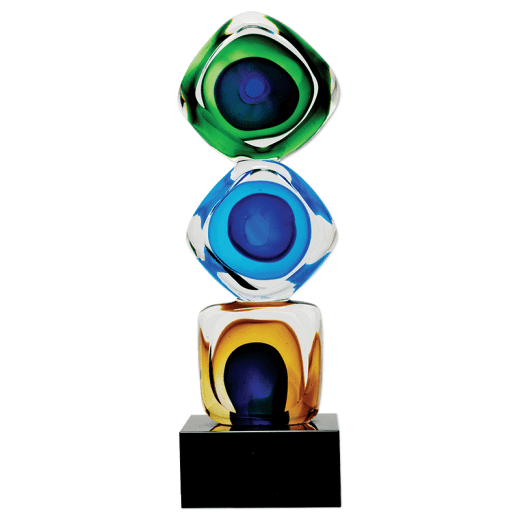 Three art glass squares stacked on top of each other on a base.
