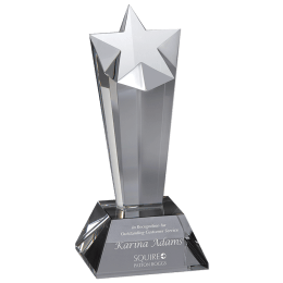 Engraved Premier Star Award crystal.