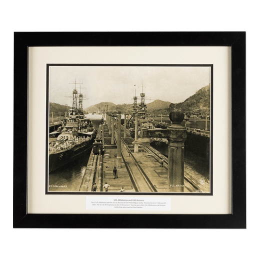 Framed image of the USS Oklahoma and USS Arizona at the Panama Canal in 1921.