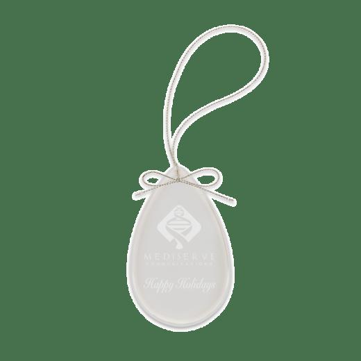 Sample engraving of crystal teardrop ornament.