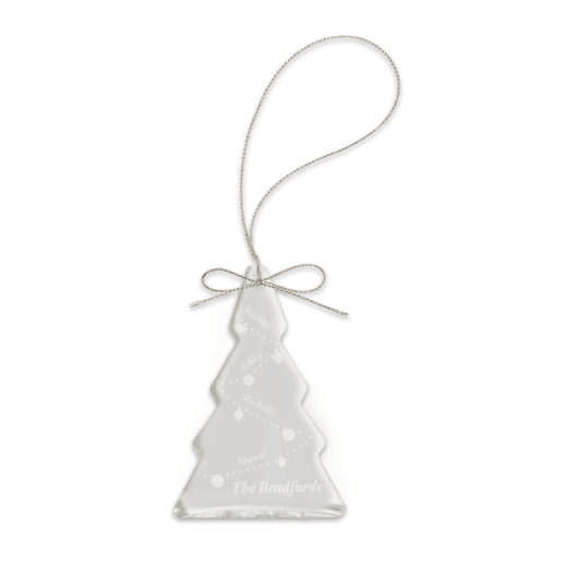 Sample engraving of crystal tree ornament.