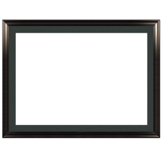 A black with bead picture frame with black mat.