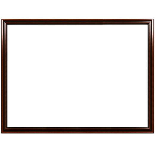 A mahogany picture frame with no mat.