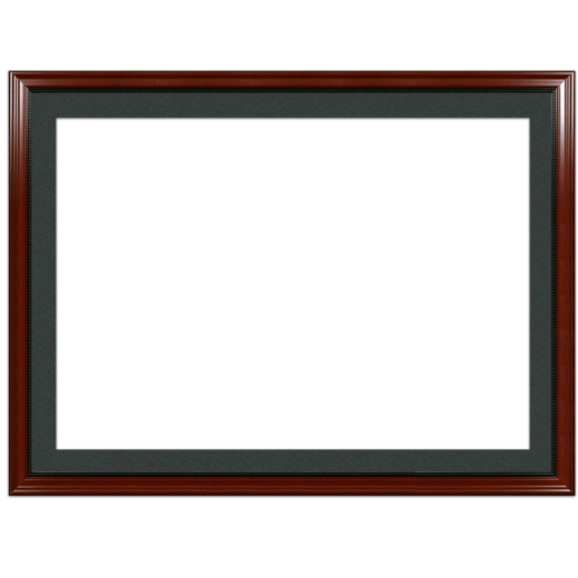 A mahogany with bead picture frame with black mat.
