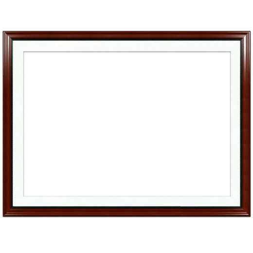A mahogany with bead picture frame with white mat.