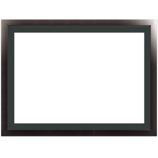 A smooth black picture frame with black mat.