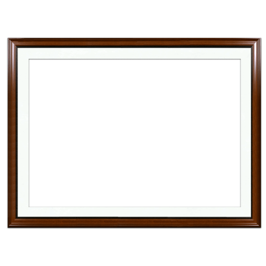 A walnut with bead picture frame with white mat.