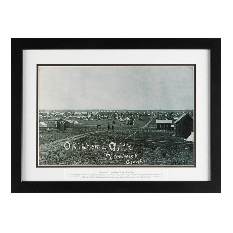Framed OKC print when Oklahoma City was 3 weeks old.