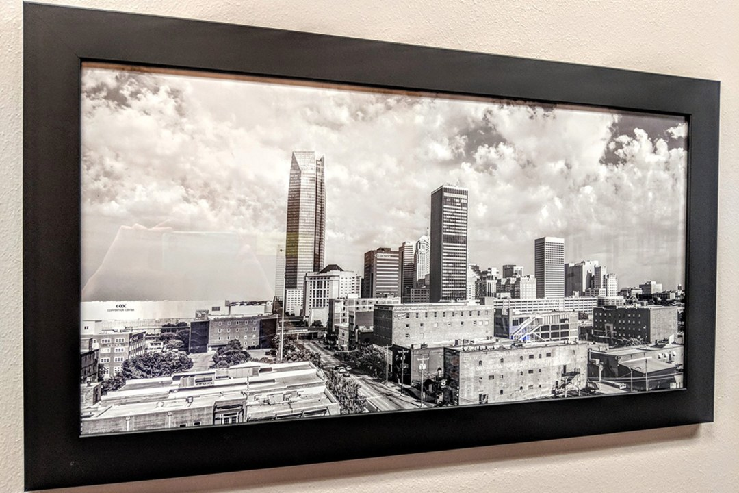 Framed image of downtown OKC.