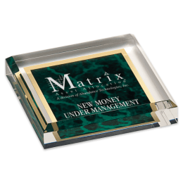 Sample engraving of green Marbleized Acrylic Paperweight.