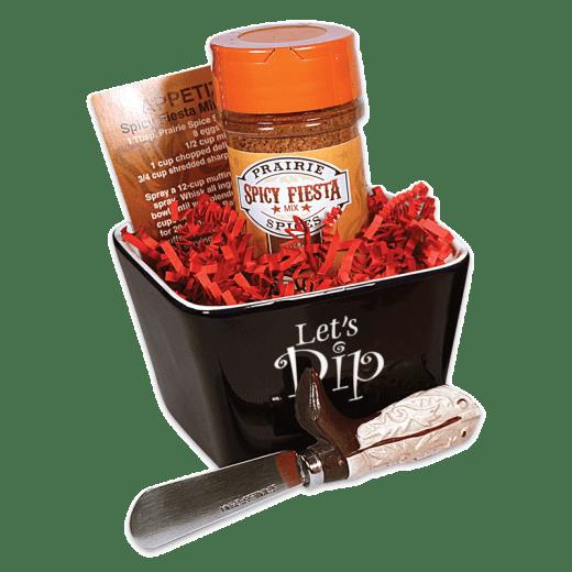 Spicy Fiesta dip set in a bowl, with a dip spreader.