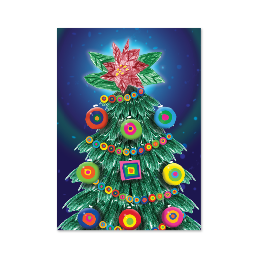 Holiday tree with a poinsettia as the star on top, designed by Woody. Tree has DRTC's Embracing the Difference circle and square shapes as ornaments.