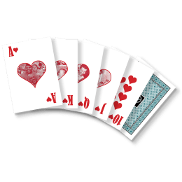 Six playing cards fanned out. The 10 of hearts through Ace of Hearts are visible. The last card shows the back design, featuring a teal background and DRTC logo.