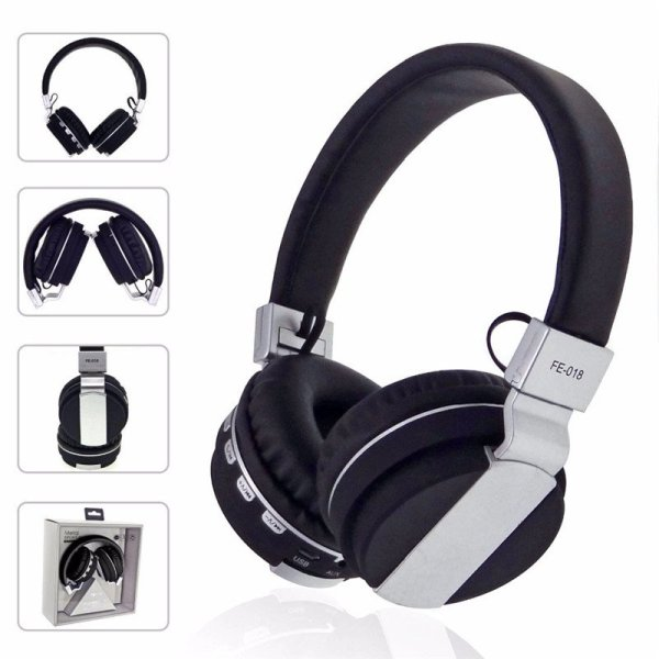 FE-018 Portable Foldable FM Radio 3.5mm NFC Bluetooth Headphone Headset with Mic for Mobile Phone 1
