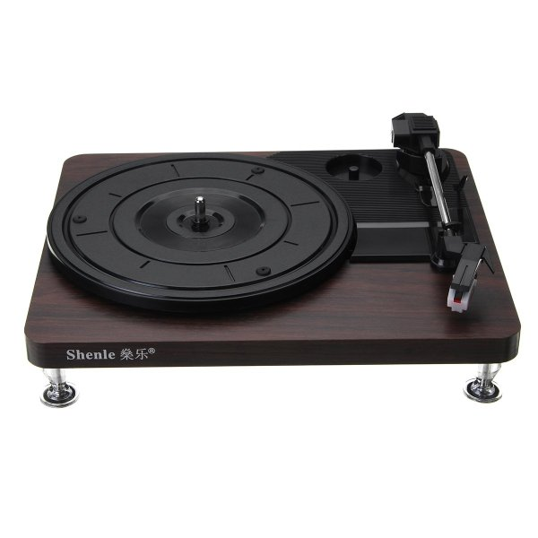 Shenle 33RPM Antique Gramophone Turntable Disc Vinyl Wood Record Player RCA R/L 3.5mm Output USB 1