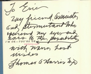 Photograph of note from Thomas A. Harris to Eric Berne in I'm OK - You're OK