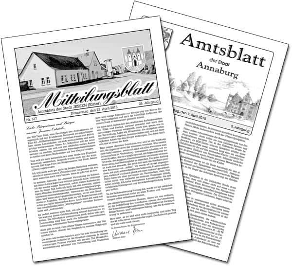 Titelbilder der Amtsblätter Jessen und Annaburg