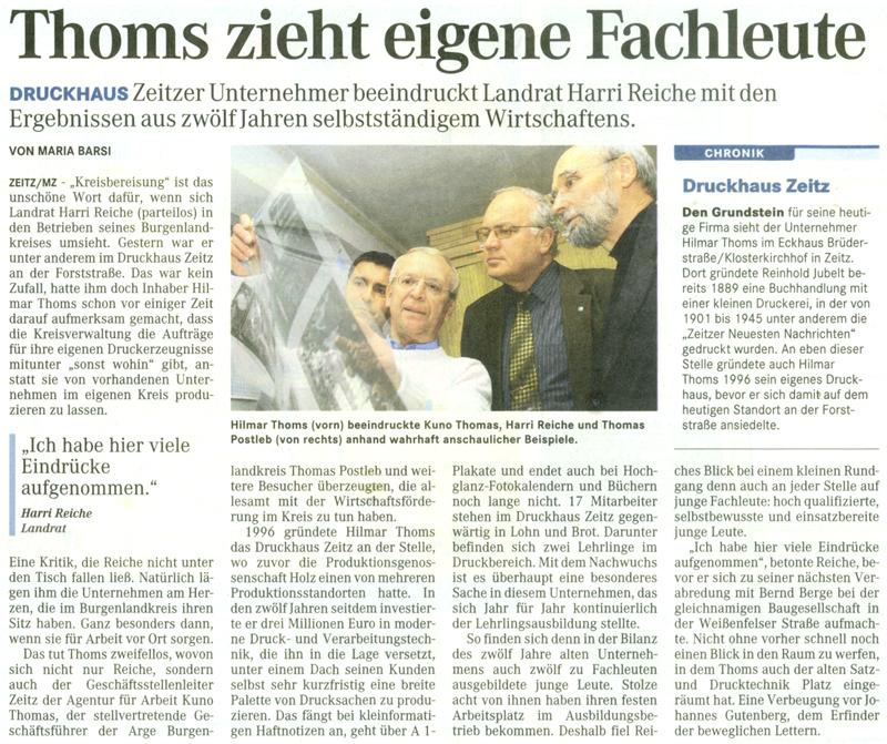 Zeitungsartikel Druckhaus Zeitz vom 23. Oktober 2008