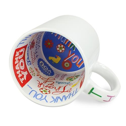 Keramik-Mottotasse 11oz weiß mit Innendruck