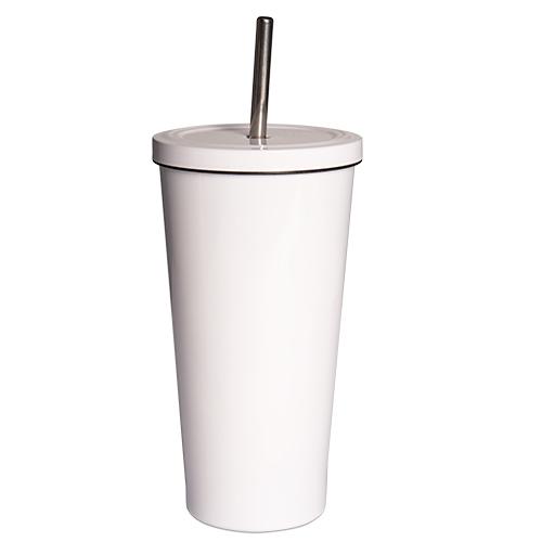 Edelstahl-Trinkbecher mit Strohhalm