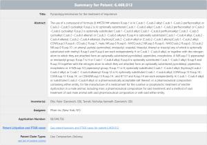 Viagra patent 6,469,012