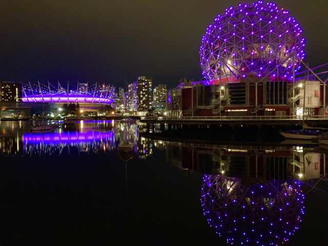 International Overdose Awareness Day, Science World and BC Place Stadium lit up in purple; Vancouver; Aug. 31, 2020