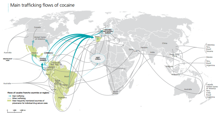 Cocaine trafficking routes 2014