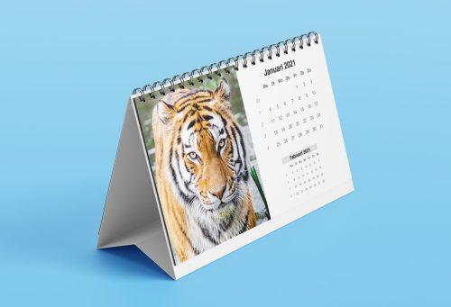 Tijger op bureaukalender