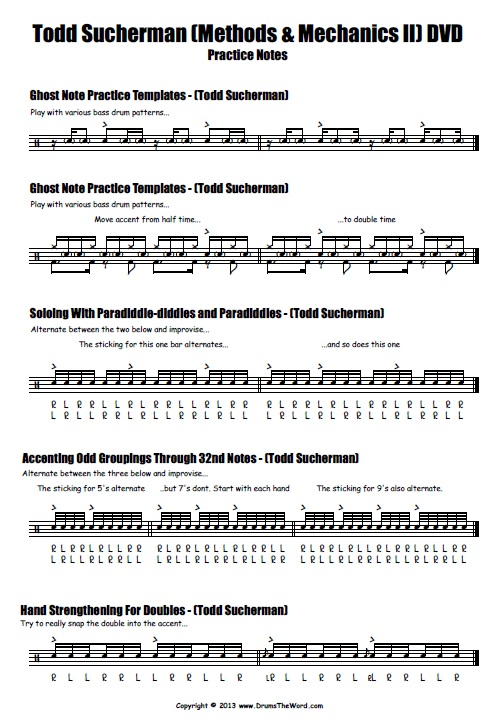 "Todd Sucherman ""Methods & Mechanics II"" Drum Pracitce Notes (Page 1)"