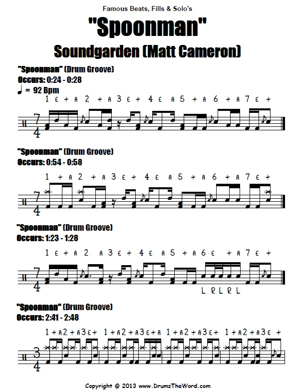 Spoonman Soundgarden Drum Beats Score Chart