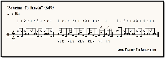 Stairway To Heaven Drum Fill Notation (John Bonham & Led Zeppelin)