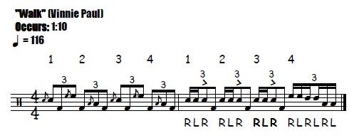 Walk Fill 1:15 Pantera Vinnie Paul - Drum Fill Transcription