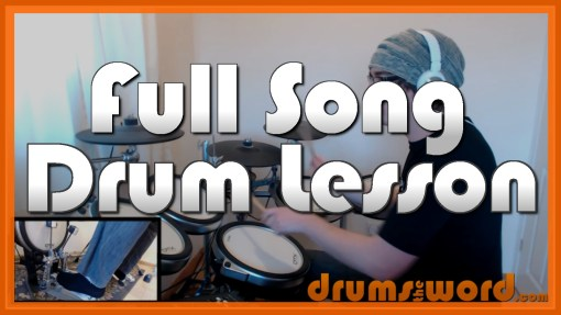 """""""Waterfall"""" - (Stone Roses) Full-Song Video Drum Lesson Notation Chart Transcription Sheet Music Drum Lesson"""