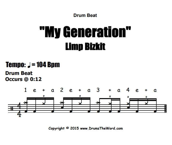 """My Generation"" - (Limp Bizkit) Drum Beat Video Drum Lesson Notation Chart Transcription Sheet Music Drum Lesson"