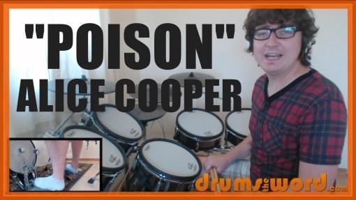 """Poison"" - (Alice Cooper) Full-Song Video Drum Lesson Notation Chart Transcription Sheet Music Drum Lesson"