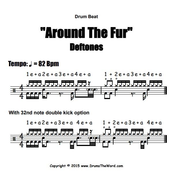 """Around The Fur"" - (Deftones) Drum Beat Video Drum Lesson Notation Chart Transcription Sheet Music Drum Lesson"
