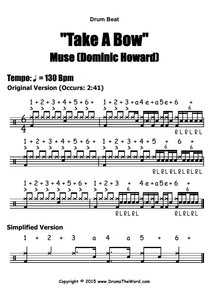 """Take A Bow"" - (Muse) Drum Beat Video Drum Lesson Notation Chart Transcription Sheet Music Drum Lesson"
