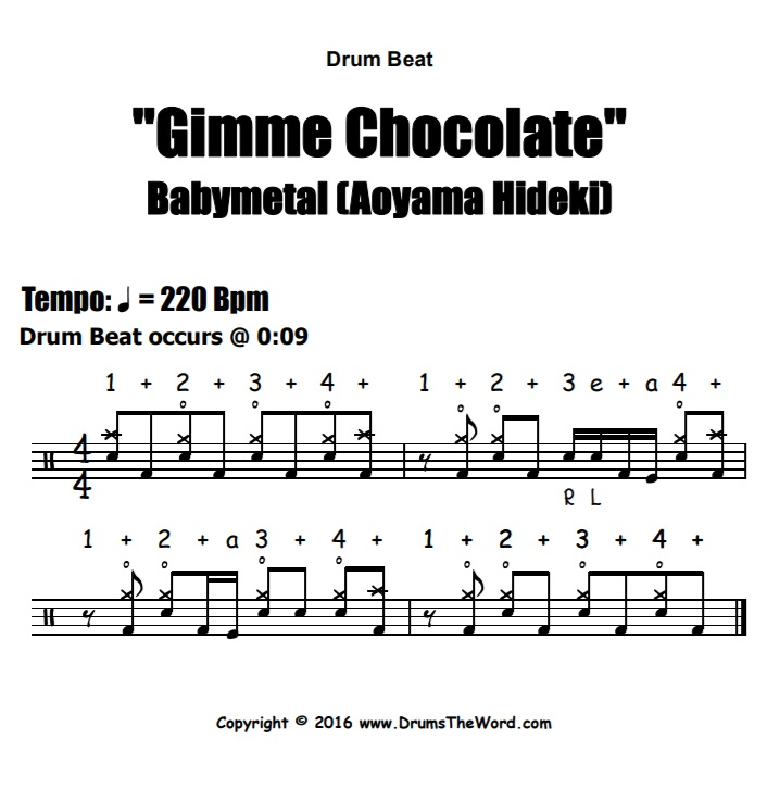 """Gimme Chocolate"" - (Babymetal) Drum Beat Video Drum Lesson Notation Chart Transcription Sheet Music Drum Lesson"