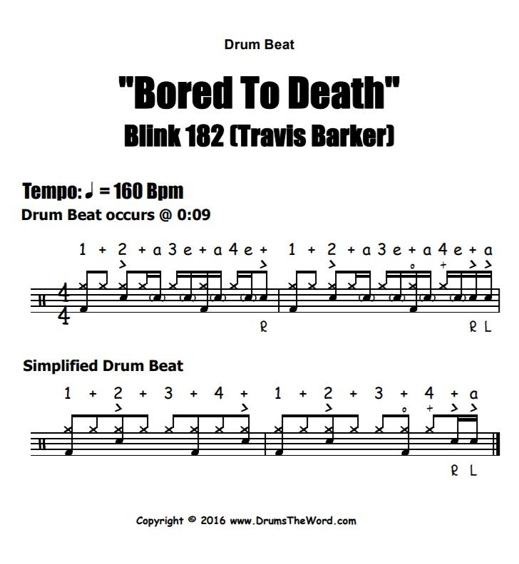 """Bored To Death"" - (Blink 182) Drum Beat Video Drum Lesson Notation Chart Transcription Sheet Music Drum Lesson"