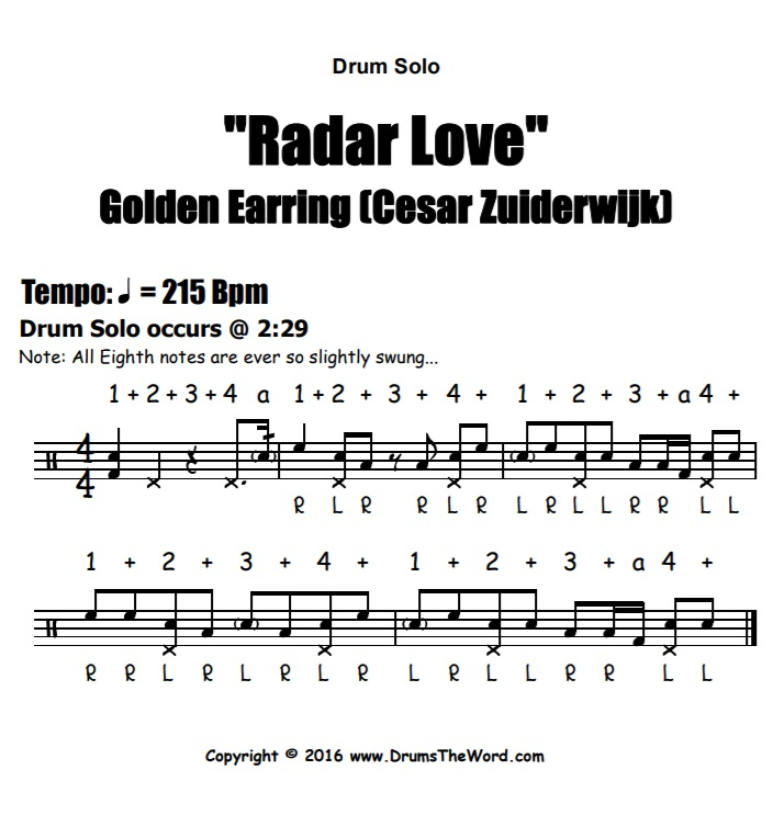"""Radar Love"" - (Golden Earring) Drum Solo Video Drum Lesson Notation Chart Transcription Sheet Music Drum Lesson"