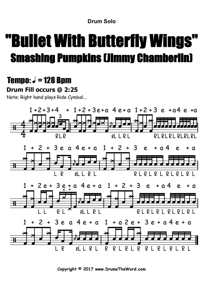"""Bullet With Butterfly Wings"" - (Smashing Pumpkins) Drum Solo Video Drum Lesson Notation Chart Transcription Sheet Music Drum Lesson"