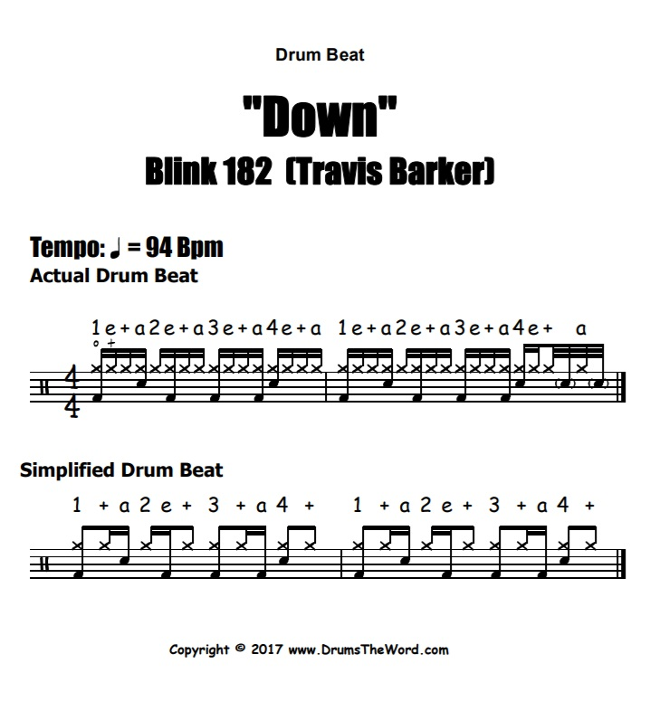 """Down"" - (Blink 182) Drum Beat Video Drum Lesson Notation Chart Transcription Sheet Music Drum Lesson"