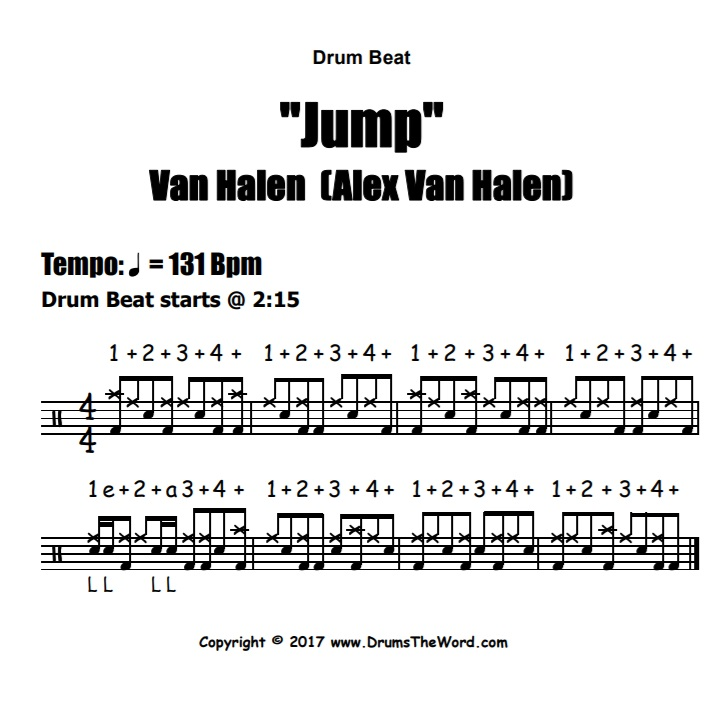 """Jump"" - (Van Halen) Drum Beat Video Drum Lesson Notation Chart Transcription Sheet Music Drum Lesson"