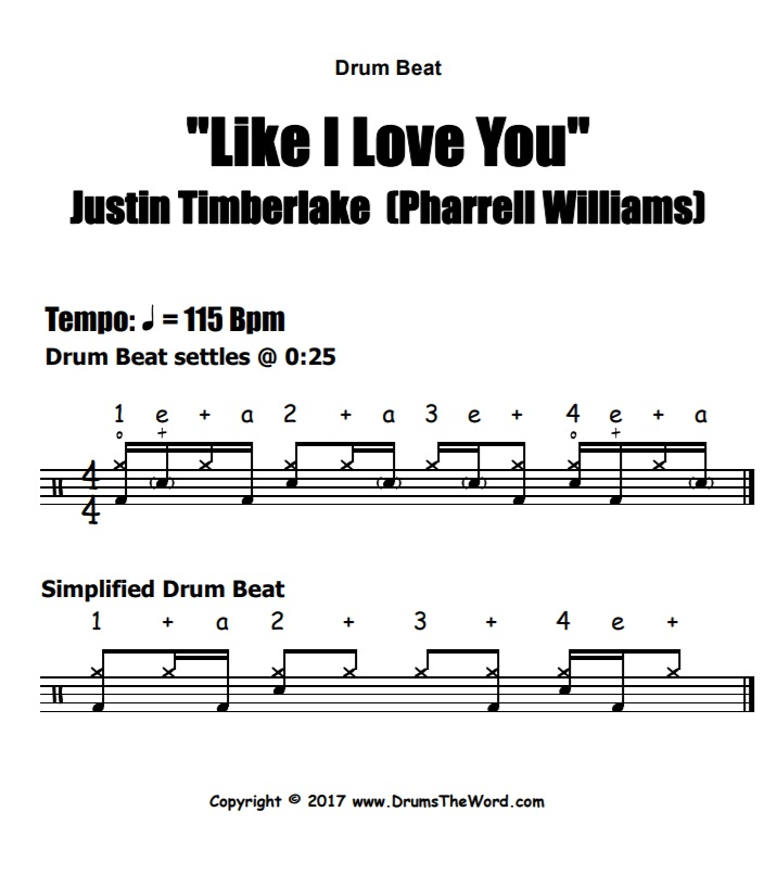 """Like I Love You"" - (Justin Timberlake) Drum Beat Video Drum Lesson Notation Chart Transcription Sheet Music Drum Lesson"
