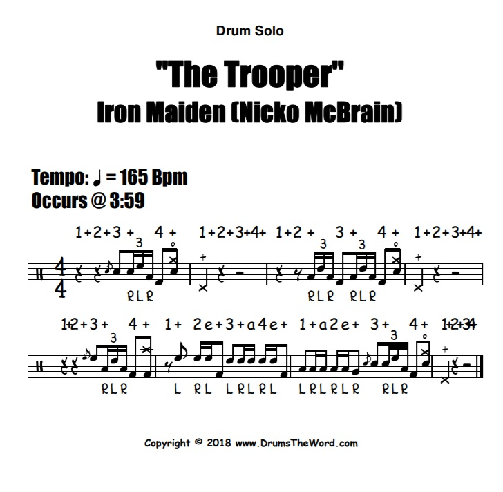 """The Trooper"" - (Iron Maiden) Drum Solo Fill Video Drum Lesson Notation Chart Transcription Sheet Music Drum Lesson"