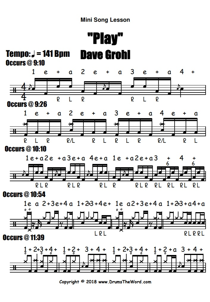 """Play"" - (Dave Grohl) Full Song Video Drum Lesson Notation Chart Transcription Sheet Music Drum Lesson"