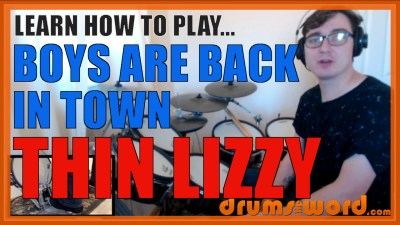 """""""Boys Are Back In Town"""" - (Thin Lizzy) Full-Song Video Drum Lesson Notation Chart Transcription Sheet Music Drum Lesson"""